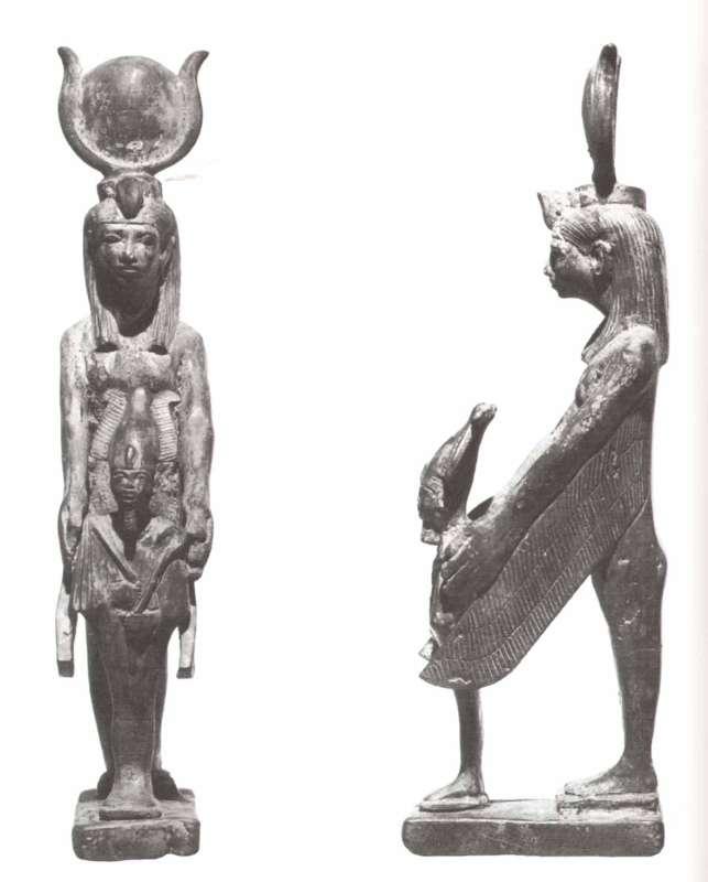 צלמית בדמות איזיס המגוננת על בעלה/אחיה אוזיריס