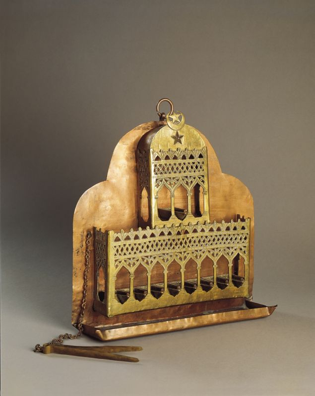 Hanukkah lamp shaped like a palace, surmounted by Islamic crescent and star