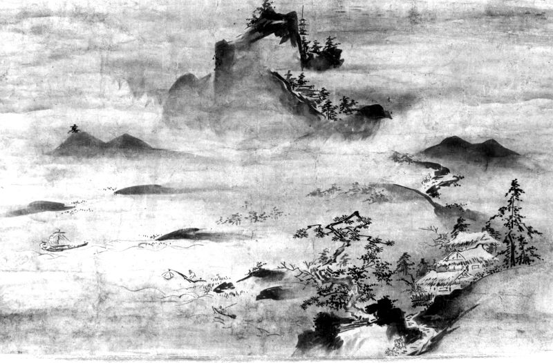 Landscape with fishing boats and mountains