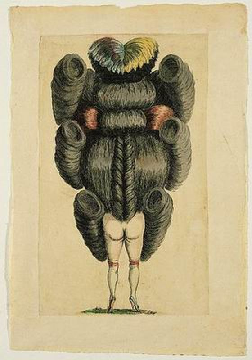 קריקטורה של גב אישה עירומה בתסרוקת מהודרת