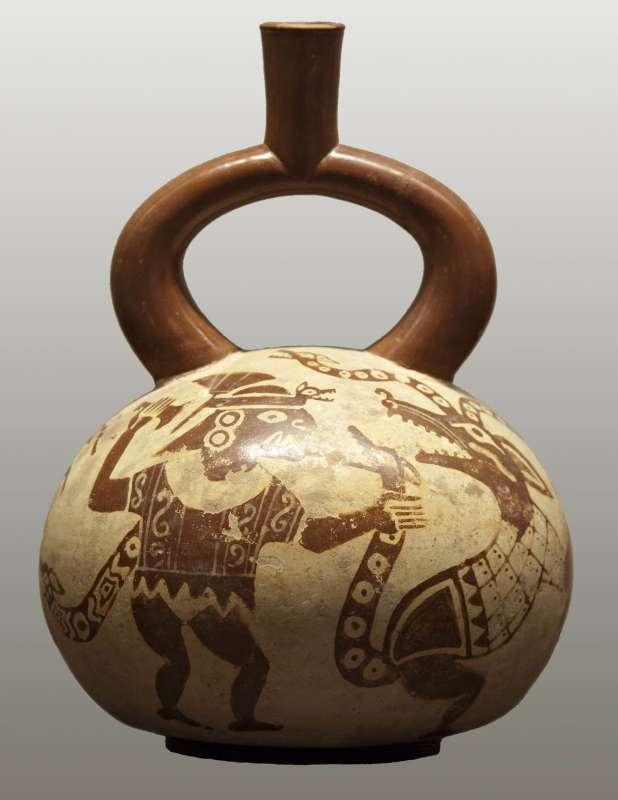 Stirrup spout vessel with mythological scene