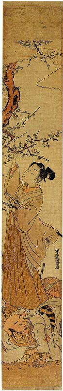 A young nobleman perched on the back of a servant hangs a tanzaku in a blossoming tree