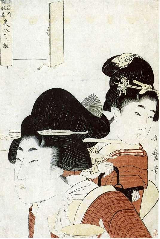 אישה ובידה גביע סאקה ונערה מחזיקה קנקן סאקה