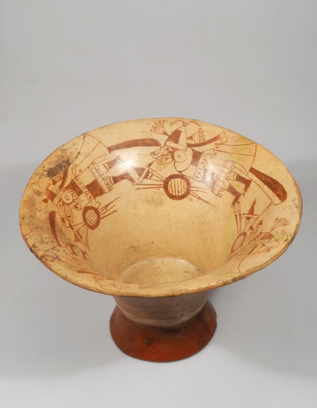 Bowl with rattling pedestal and mythic creatures