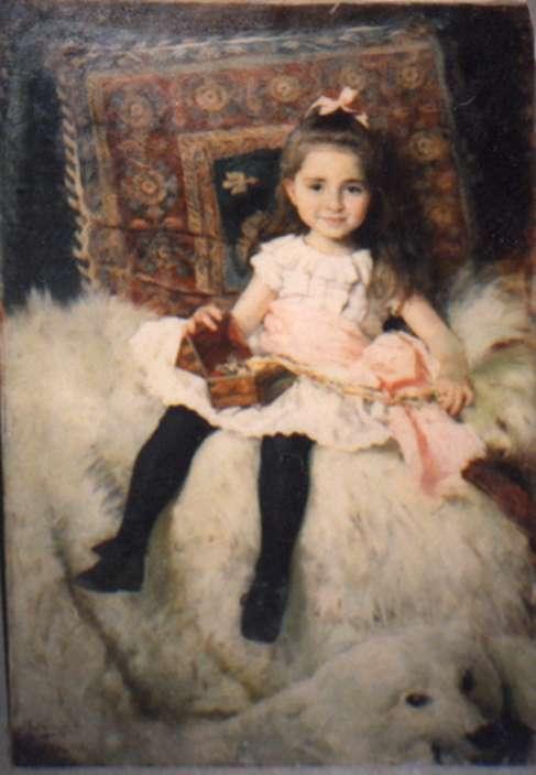 Little Girl Seated on a Bear Rug
