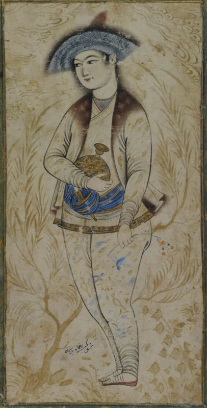 Young nobleman holding a flask