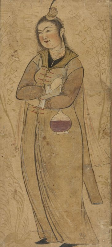 Young woman holding a flask