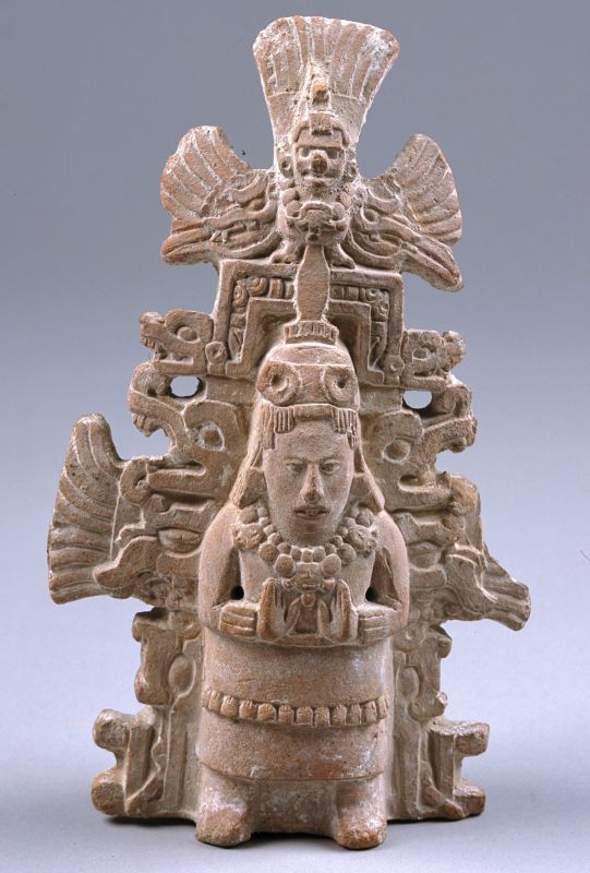 Richly attired noblewoman with back rack crowned with double-headed serpents and the Celestial Bird