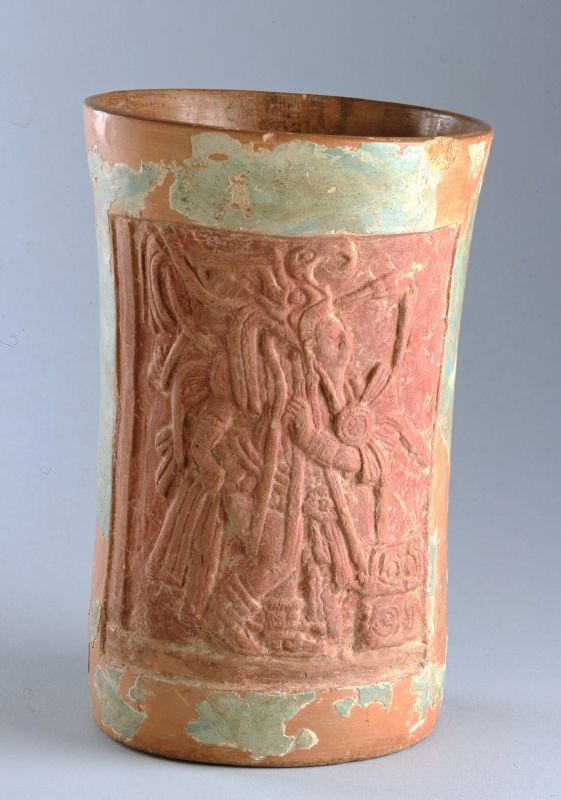 Cylindrical vessel with depiction of dancing Hero Twins
