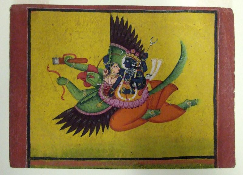 Vishnu and Lakshmi seated on the back of Garuda, Vishnu's attendant animal