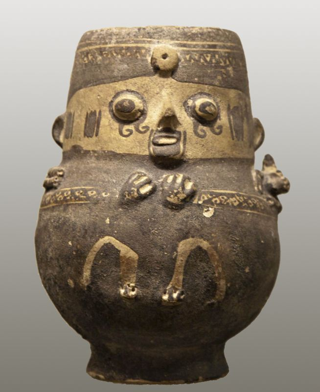 Bottle in the form of a nobleman carrying a baby llama on his shoulders