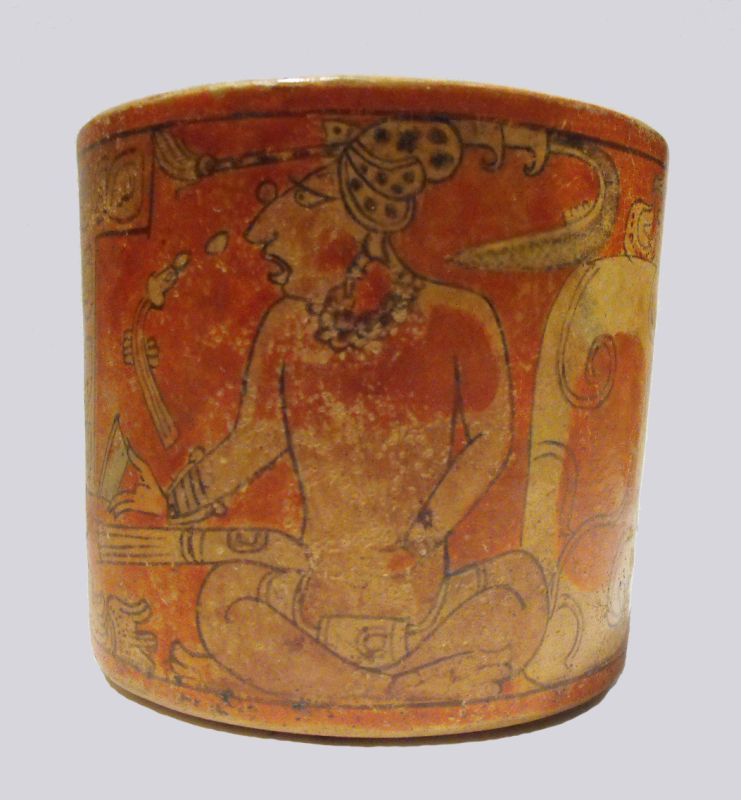 Cylindrical vessel with depiction of scribes