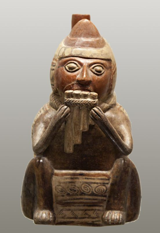 Bottle in the form of a man playing the panpipes (<i>antara</i>)