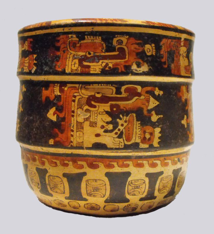 Cylindrical vessel with multiple depictions of gods