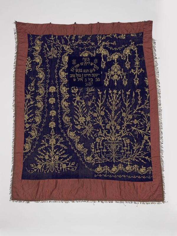 Torah ark curtain made from a woman's dress