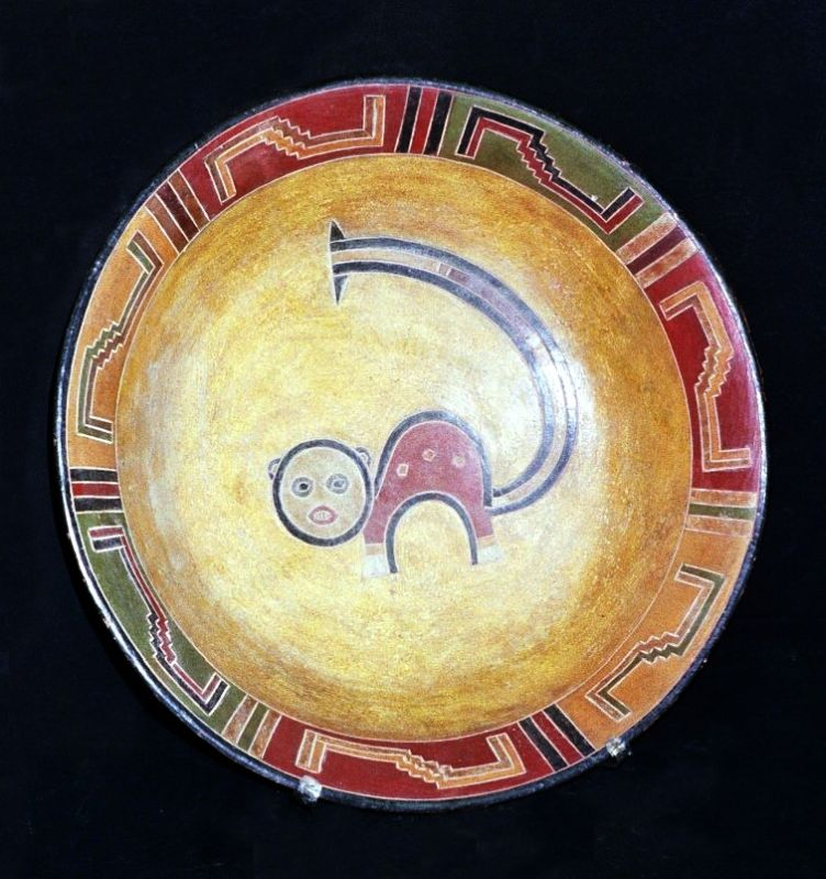 Bowl with stylized depiction of a Pampas Cat