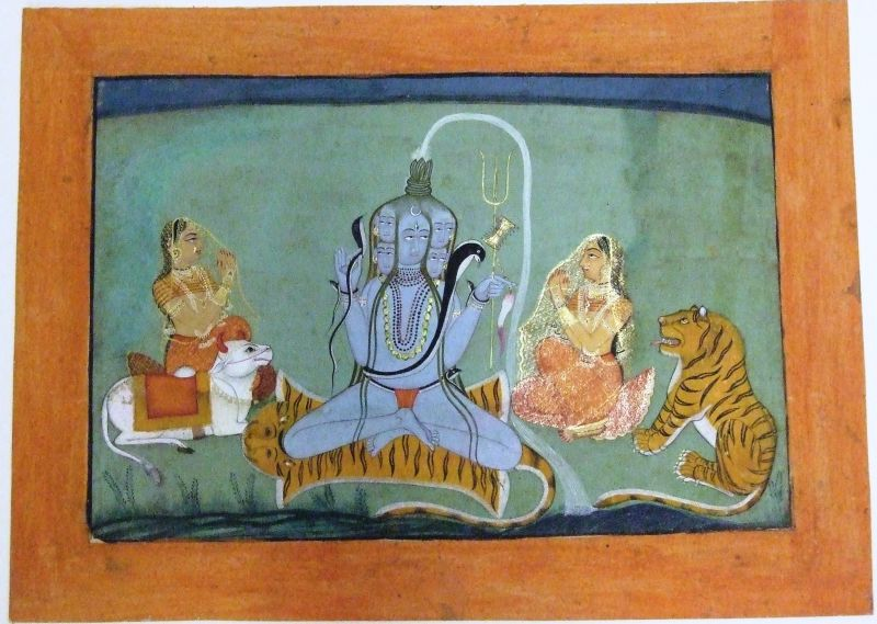 Shiva with five faces and water pouring from his head into the river Ganges