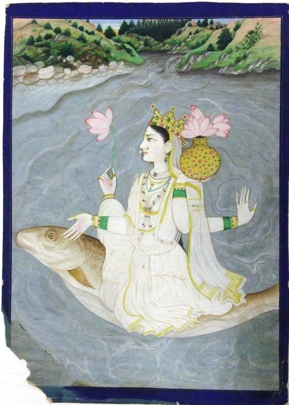 The goddess Ganga riding on a large fish on the river Ganges