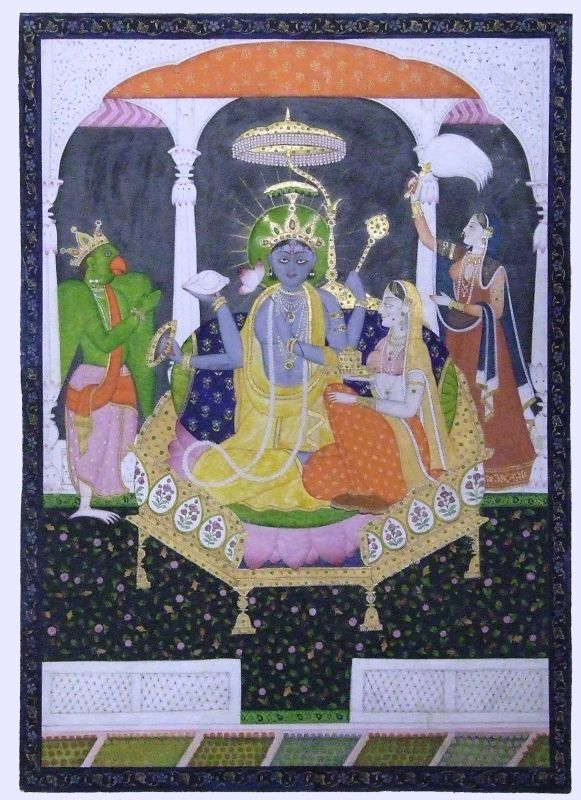 Vishnu and Lakshmi on a royal seat, worshipped by a crowned Garuda and by a lady holding a fly whisk, an emblem of authority