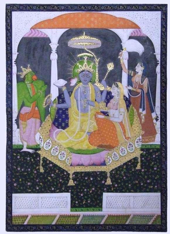 וישנוּ ולַקְשְמי יושבים על כס מלכות, לצדם גָרוּדָה בכתר לראשו וגבירה המחזיקה סמל שלטון