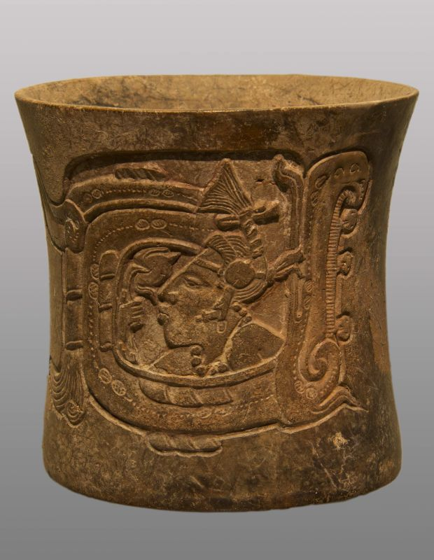 """Cylindrical vessel with a depiction of a lord in the """"Watery Place"""" smelling a water lily"""