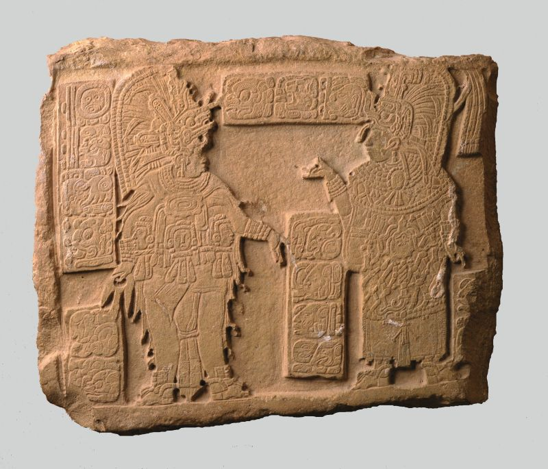 Lintel with royal inscription and depiction of King Chak Naab Kaan   and his consort, Lady Ix Wak Kaan, during self-inflicted bloodletting ritual