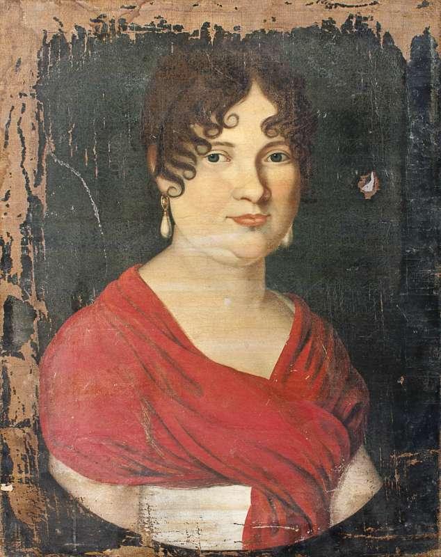 דיוקן אישה בשמלה אדומה