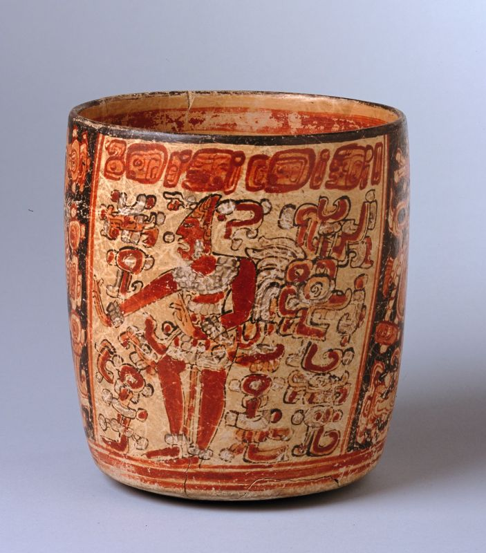 Cylindrical vessel featuring the dancing Maize God