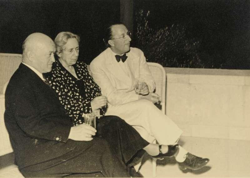 Salman Schocken, Henrietta Szold, and Erich Mendelsohn at the opening of Hadassah Hospital