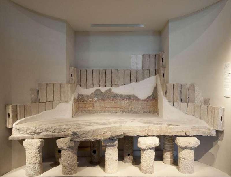 שחזור קטע מן החדר החם בבית המרחץ בארמון הורדוס