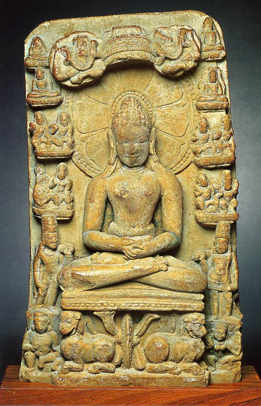 Buddha on a seat supported by lions