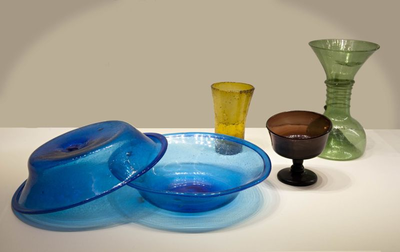 Bowls, beakers, and a bottle