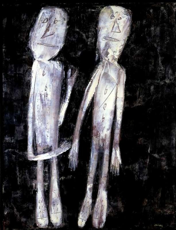 שני אנשים על רקע שחור