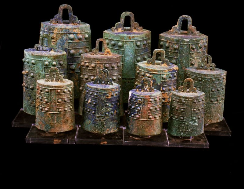 Set of eleven bronze bells