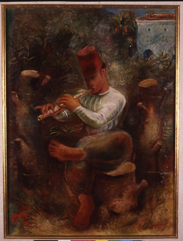 Arab Boy Playing the Flute