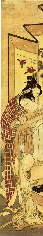 Lovers embracing in front of a byobu