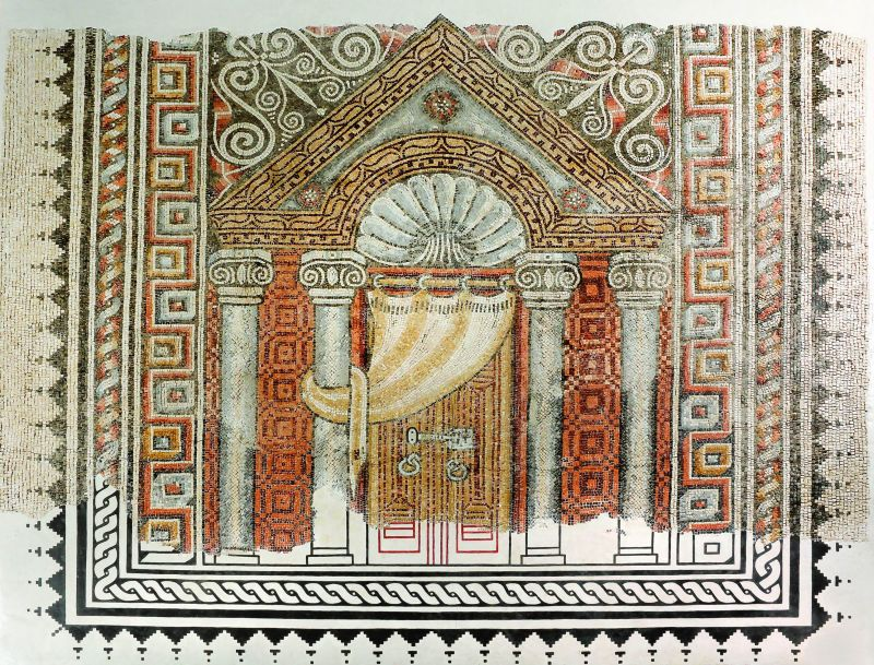 Synagogue mosaic floor depicting a temple facade with a Torah ark