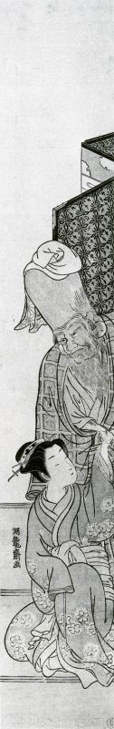 Fukurokuju, a god of good fortune, holding the hand of a kneeling girl