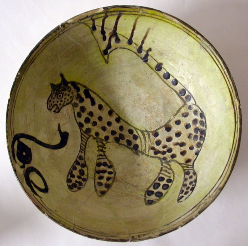 Bowl decorated with a leopard