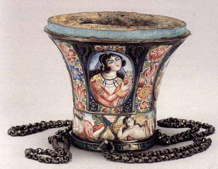 Hookah bowl in the Qajar style