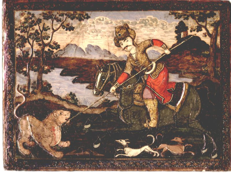 Safavid Shah hunting a lion