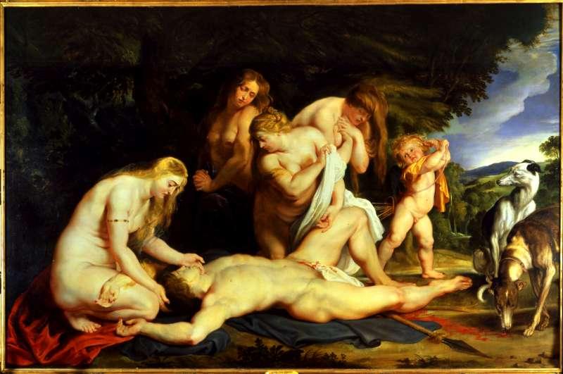 מות אדוניס (עם ונוס, קופידון ושלוש הגרציות)