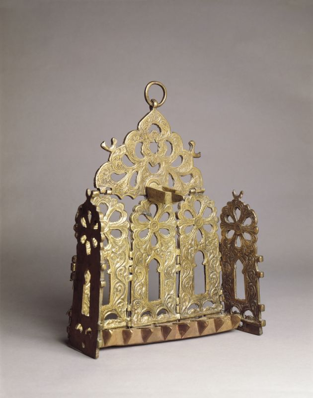 Hanukkah lamp adorned with gates and rosettes