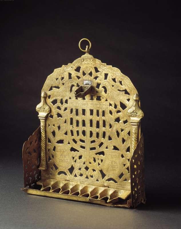 Hanukkah lamp adorned with Temple Menorah