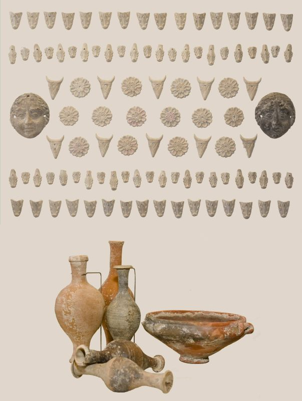 Decorations from an elaborate pagan coffin and burial goods