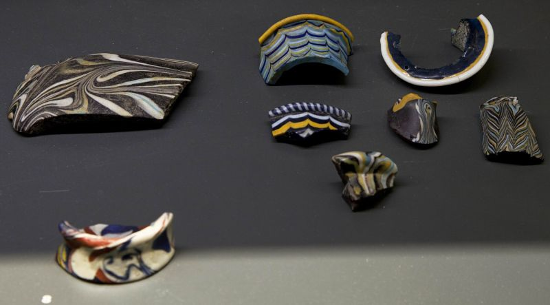 Vessel fragments, some of the earliest polychrome glass