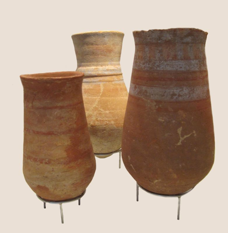 Jugs from Egypt, painted red and blue