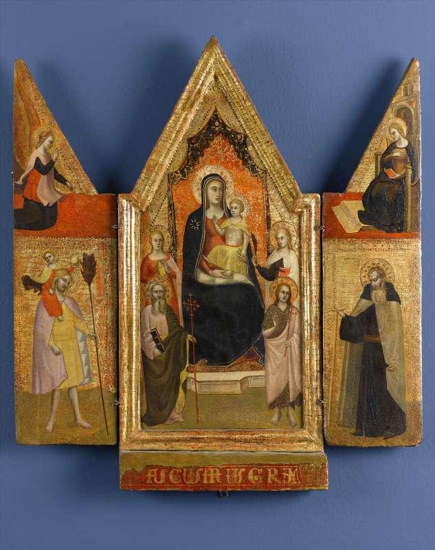 מדונה על כס המלכות עם ישו התינוק וקדושים (טריפטיך)