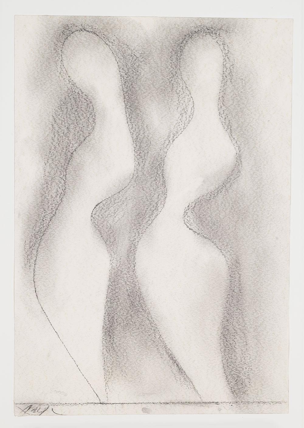 רישום לפסל, 1959 גרפיט על נייר אוסף ארתור ומדלן שאלט לג'ואה, שציוותה מדלן שאלט לג'ואה, ניו-יורק, לידידי מוזיאון ישראל בארה