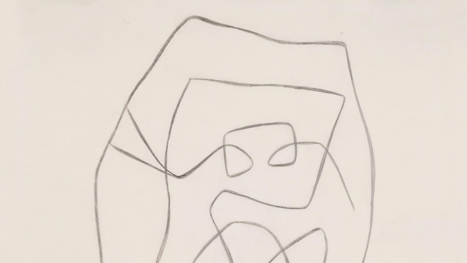 קומפוזיציה, 1959,גרפיט על נייר,עיזבון אוסף קיי מריל הילמן, ניו-יורק, לידידי מוזיאון ישראל בארה